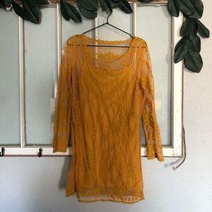 🏔boho mustard yellow lace dress long sleeves